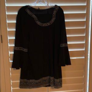 Long black embellished tunic